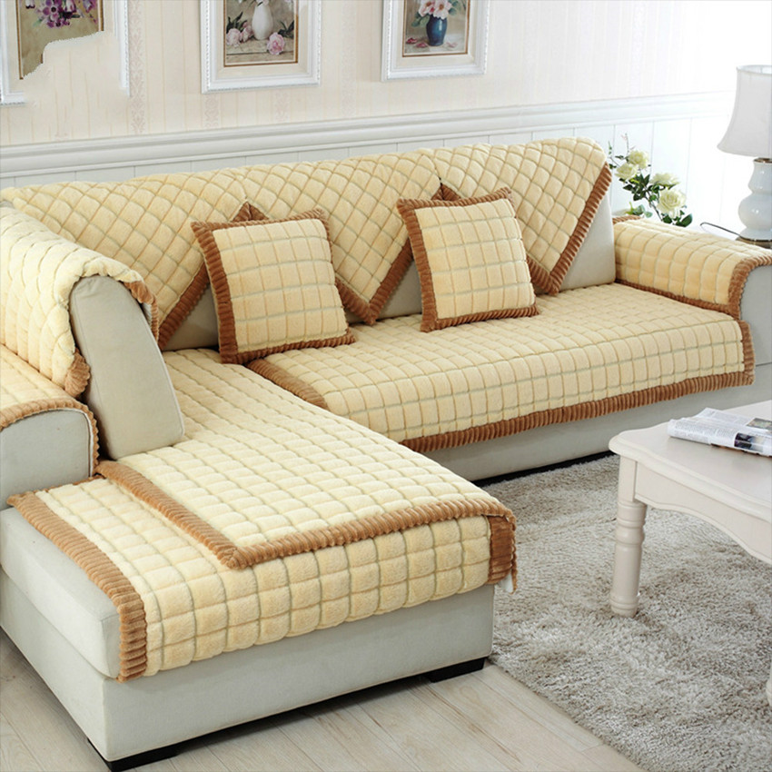 Coffee beige plaid quilting sofa cover sectional couch ...