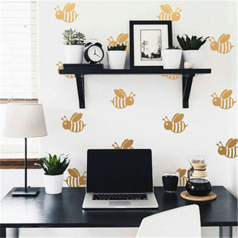 Us 1 96 18 Off Cute Bee Wall Decals Cartoon Honey Stickers Modern Nursery Home Decor Vinyl For Kids Room Murals Muraux In