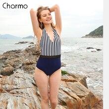Charmo Vintage One Piece Women Swimwear Retro Striped Print Swimsuits Bandage Deep-V Sexy Monokini Backless Beachwear