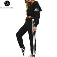 Lily Rosie Girl Fashion Women Hoodies Sets 2 Pieces Lace Up Long Sleeve Crop Tops Striped