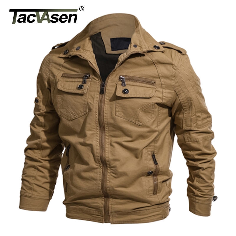 TACVASEN New Men Military Jacket Spring Cotton Casual Flight Jacket Coat Army Men Pilot Jackets Autumn Air Force Cargo Jaqueta