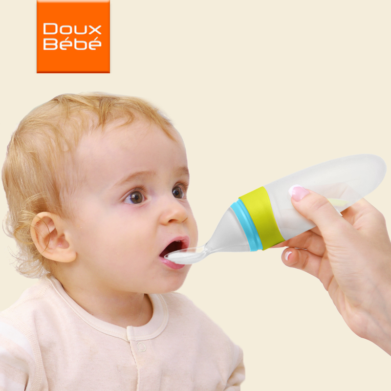 Silicone Baby Bottle With Spoon Food Supplement Rice Cereal Feeder Squeeze Spoon baby squeezing feeding spoon Extrusion Tools egg spoon