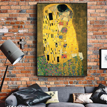 Gustav Klimt Kiss Famous Canvas Paintings Reproductions On The Wall Classical Portrait Poster For Living Room Cuadros Decor