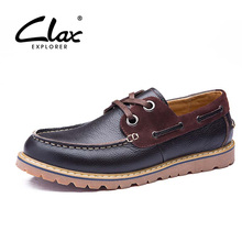 Clax Men Boat Shoes Causal Spring Autumn Casual Men's Leather Shoe Lace Up Vintage Retro Shoes Design Flat Elengant Leisure Shoe