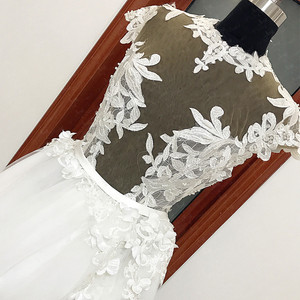 Image 1 - RSW557 Transparent Body Cap Sleeves Detachable Tulle Train Backless Wedding Dress