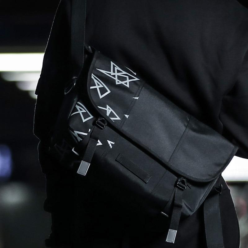 Men Messenger Bag Street Fixed Gear Fashion Triangle Pattern Shoulder Bag Boys Teenager Riding Bike Bolso
