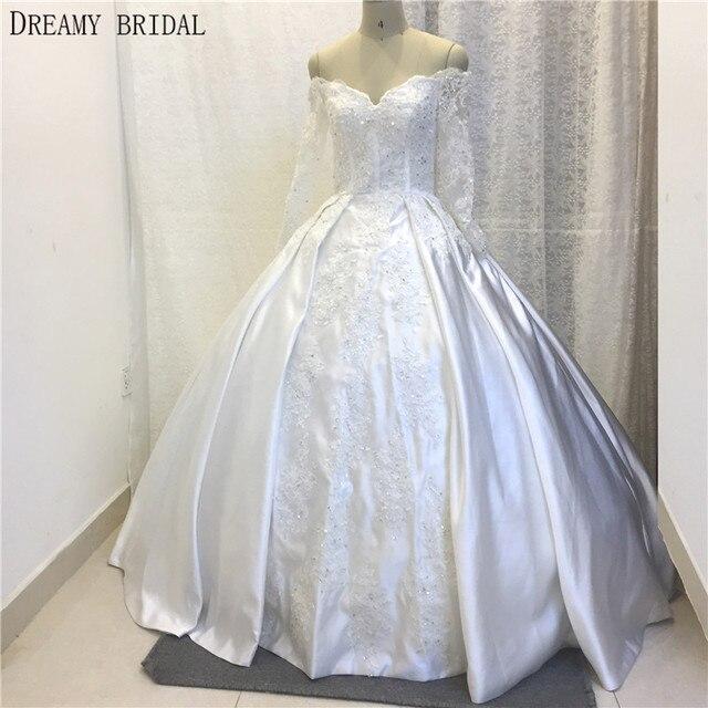 Dreamy Braut Weiß Brautkleider Ballkleid mit boot ausschnitt Langen ...