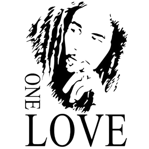 Bob Marley ONE LOVE Vinyl Art Mural Wall Sticker Home Decal Decor Room Music Fan Black 43*61cm