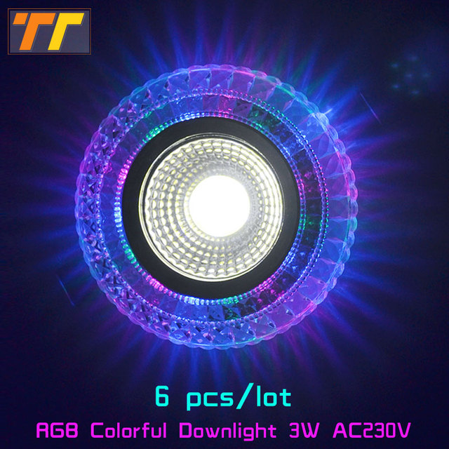 6pcs LED Downlight Round 3W colorful LED Lamp phantom Color Panel Light RGB & white Ceiling Recessed Acrylic AC 110V 220V