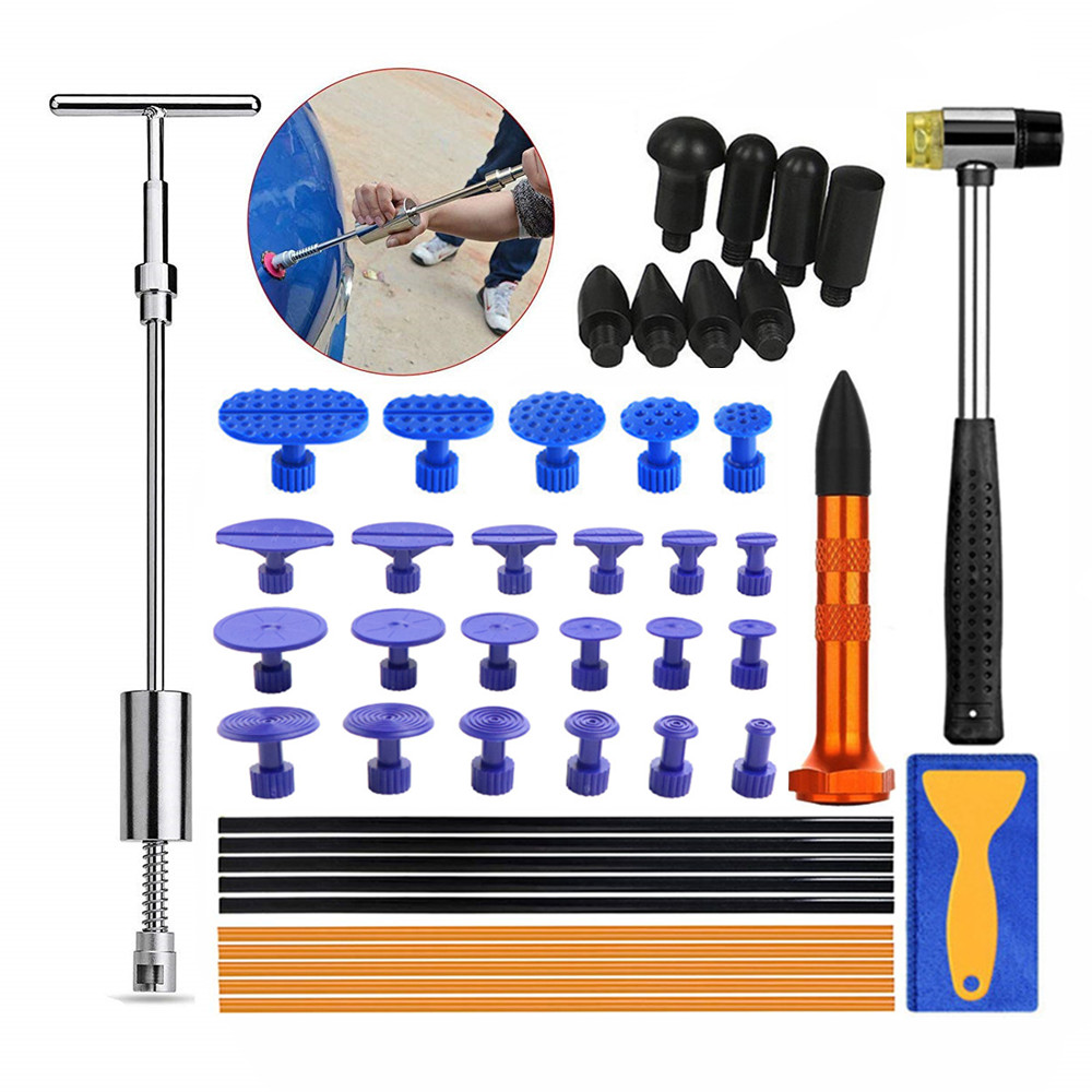 PDR Tools Paintless Dent Repair Kit Auto Body Dent Dings Removal Slide Hammer Puller Tabs Tap Down 8 Heads Car Hail Dent Repair