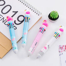 1pcs/lot Cool Flamingo Cartoon Head Ten Color Ballpoint Pen Party Gift For Girl Kid School And Office Supply 1pcs lot kid watch