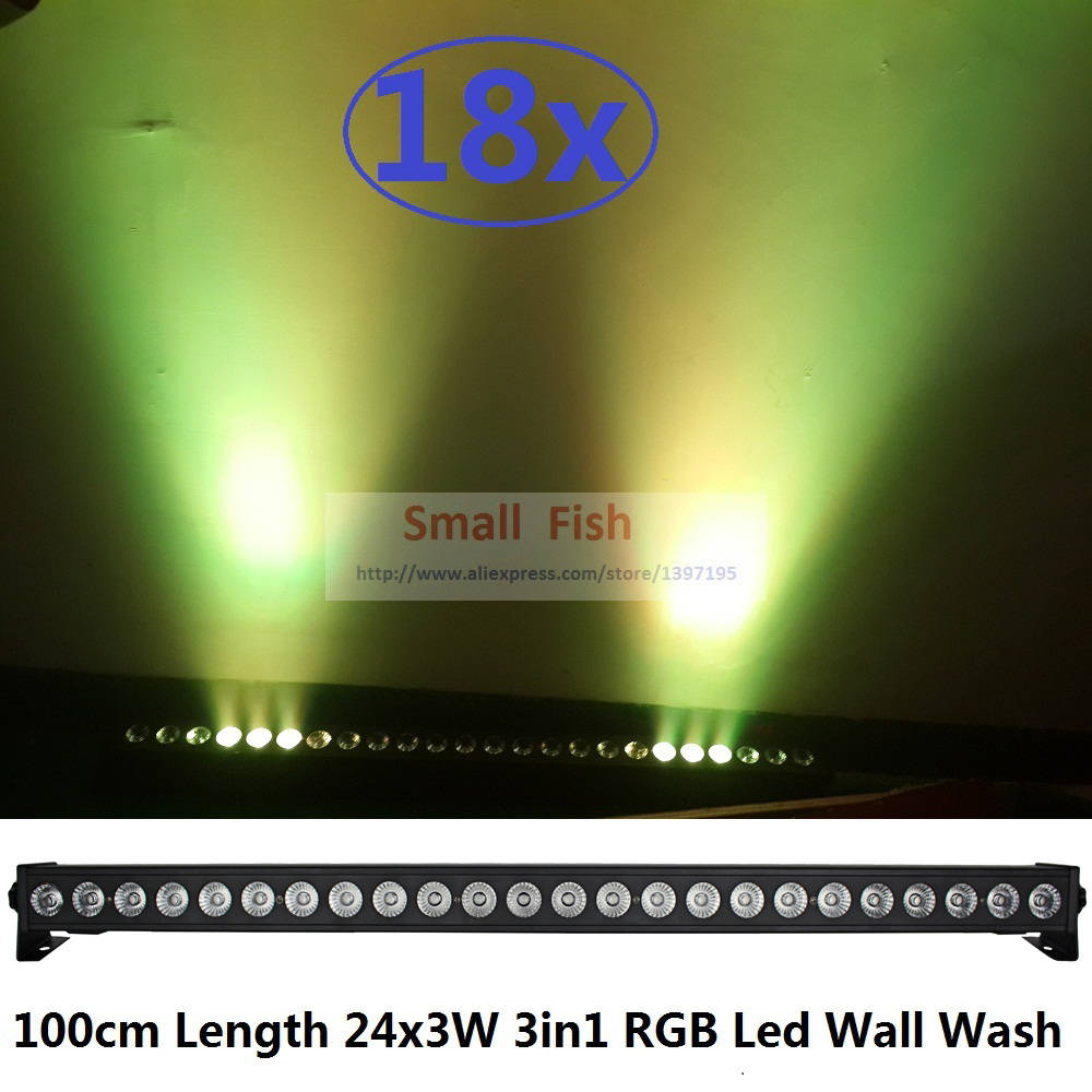18xLot High Power Led Wall Wash Light 100cm 24x3W RGB 3in1 LED Line Bar Stage Lights Running Horse Function DMX DJ Stage Lights niugul dmx stage light mini 10w led spot moving head light led patterns lamp dj disco lighting 10w led gobo lights chandelier