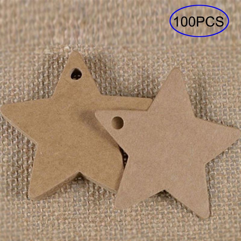 100Pcs/Set Star Shape Kraft Paper Price Tags Wedding Party Card Luggage Tag Packaging Label MYDING
