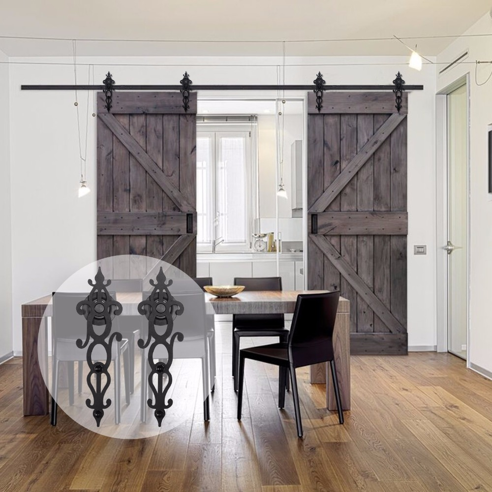 LWZH 10ft Customized Sliding Door Hardware Wood Barn Door Hardware Hanging America Style Sliding Door Hardware For Double Door