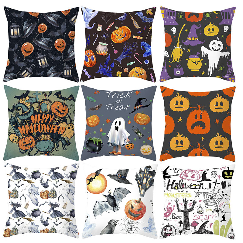 FENGRISE 45 45CM Halloween Pumpkin Pillowcase 2019 Happy Halloween Home Decoration Pumpkin Cushion Halloween Party Decor Supply in Party DIY Decorations from Home Garden