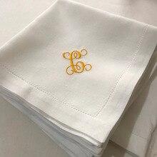 Монограмма вышитые белые салфетки для обеда, белая салфетка для подарка на новоселье на свадьбу