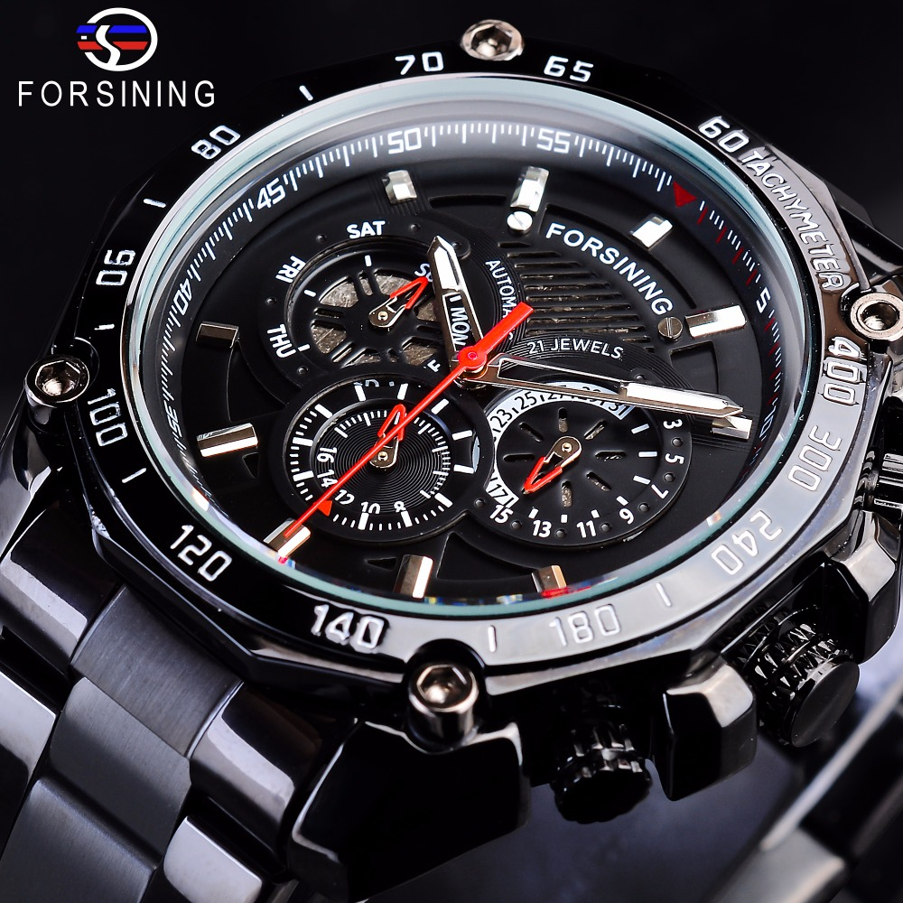 Forsining Steampunk Black Steel Sport Racing Design Mens Automatic Wrist Watches Top Brand Luxury Military Mechanical