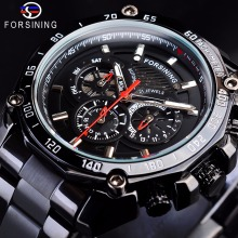 Forsining Steampunk Black Steel Sport Racing Design Mens Automatic Wrist Watches Top Brand Luxury Military Mechanical Male Clock