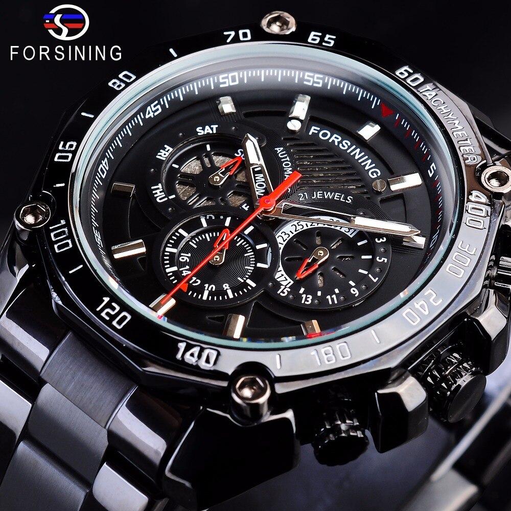Forsining Steampunk noir en acier Sport Racing Design hommes montres automatiques Top marque de luxe militaire mécanique mâle horloge