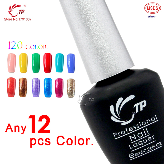 TP Brand 12pcs/lot 10seconds Speed Cure Nail Gel Polish 8ml Long Lasting Soak-Off UV Gel Varnishes Nails Beauty Manicure Tools