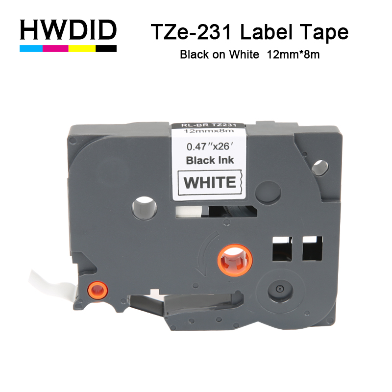 HWDID 1pcs TZe 231 Black on White Label Tape Replacement for Brother Tze231 TZ-231 p-touch tz231 tze-231 Ptouch printer ribbon 231 35131