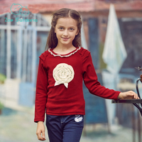 Zoe Saldana Girl's T-shirts 2017 New Fashion Spring Autumn Children Floral O-neck Long Sleeve T-shirt Girl Casual Soft Pullovers