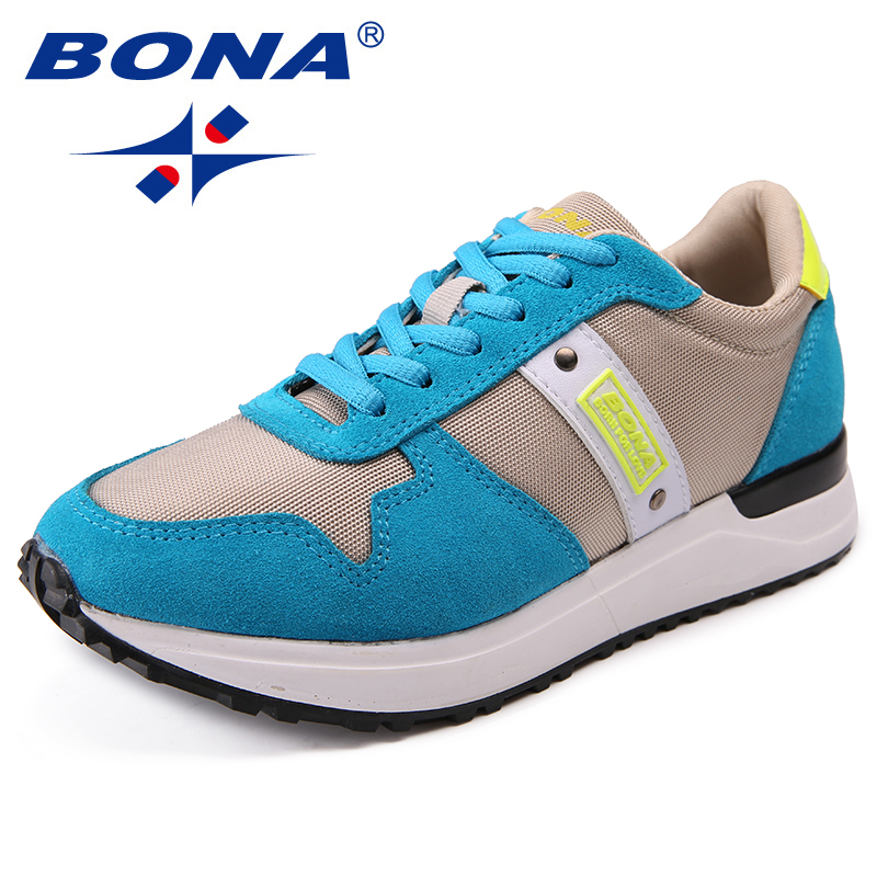 BONA New Popular Style Women Flats Shoes Mesh Women Loafers Lace Up Lady Comfortable Ourdoor Fashion Sneakers Free shipping