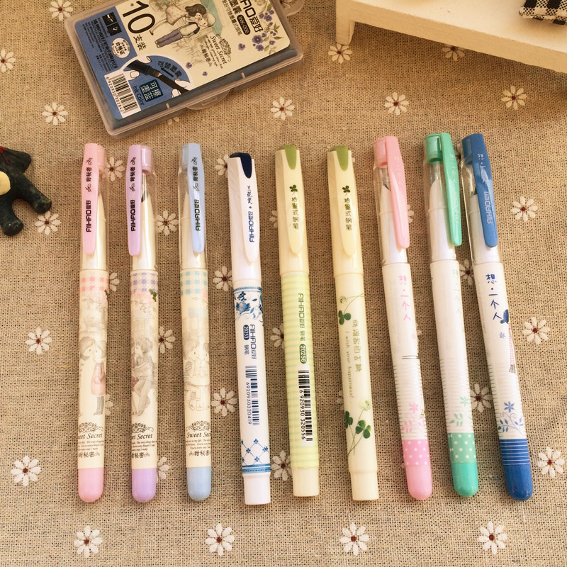 Student Cute Kawaii Plastic Fountain Pen With Ink Sac Lovely Clover Calligraphy Pen For Kids Gift School Supplies 4503