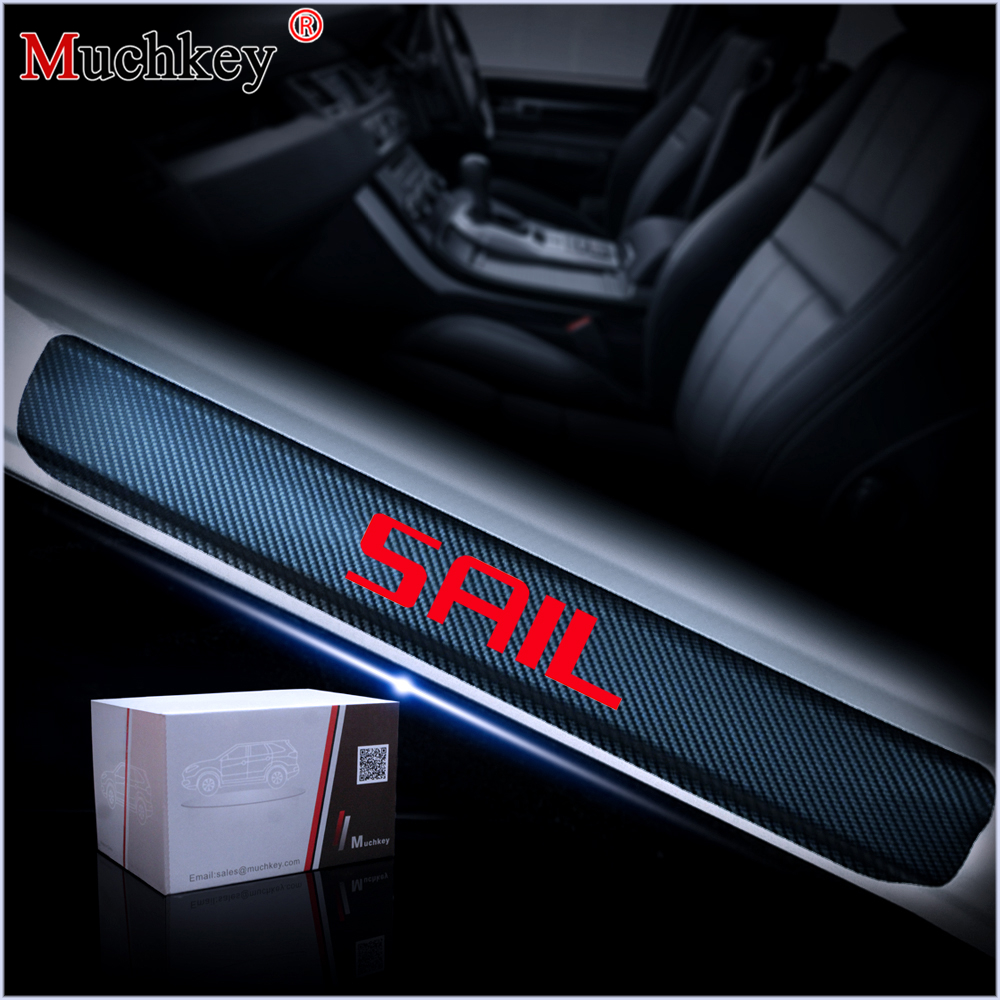 For Chevrolet SAIL Car Door Sill Scuff Plate Carbon fiber vinyl sticker Door Sill Protector Auto Parts Interior Accessories 4Pcs