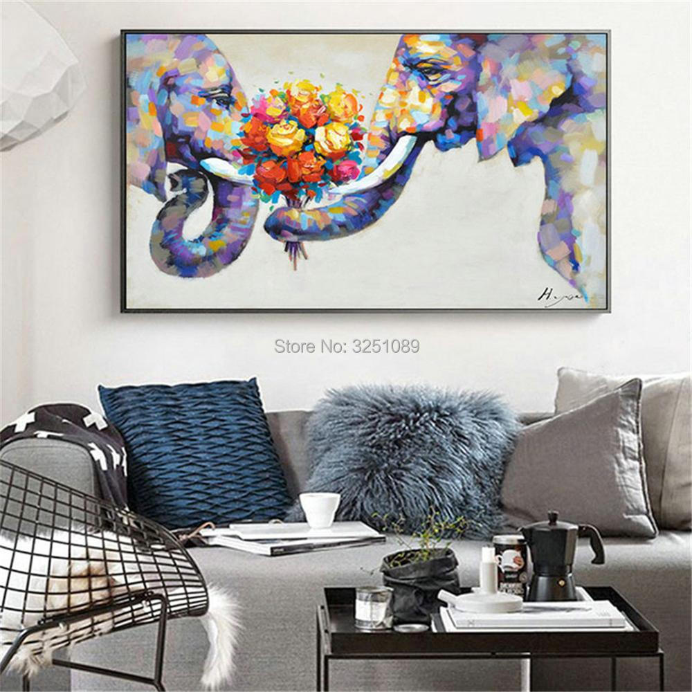 hand painted living room decor flowers painting animals canvas ...