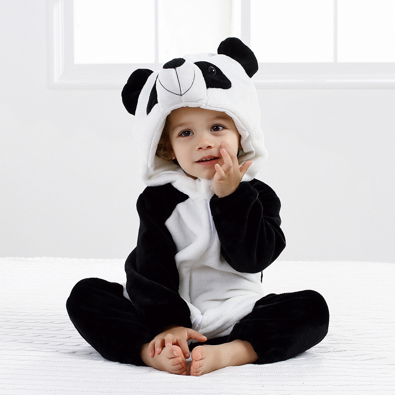 ef92014f3 Toddler Winter Cartoon Flannel Baby Rompers Home Clothing Panda ...