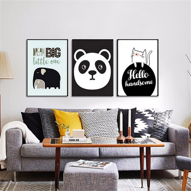 Haochu Animal Motivational Painting Canvas Black White Background Wall Art Print Poster Office Living Study Room Corridor Decor