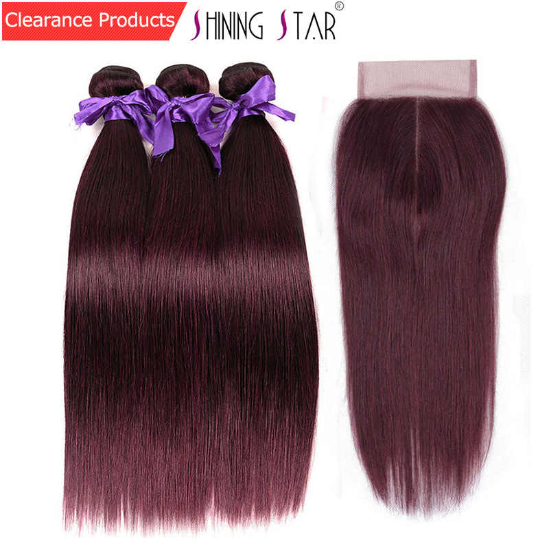 3 красные бордовые пучки с закрытием прямые перуанские человеческие волосы разноцветные шиньоны с закрытием 99J блестящие звезды плетение не Реми