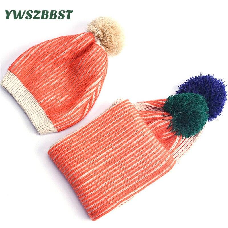 Fashion Striped Baby Winter Hat Baby Boys Girls Knit Hat Kids Warm Hat Children Beanies Caps + Scarf set