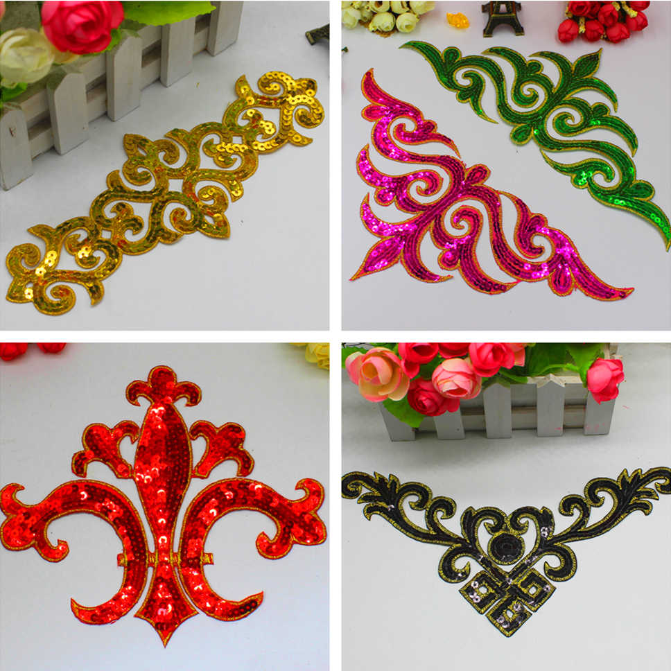 Iron On Sequined Appliques Gold And Silver Embroidered Patches Cosplay Costumes Trims Garments Budges Performance Trims