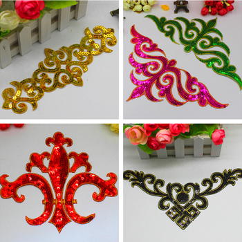 Iron On Sequined Appliques Gold Embroidered Patches Cosplay Costumes Trims Garments Budges Performance Trim image