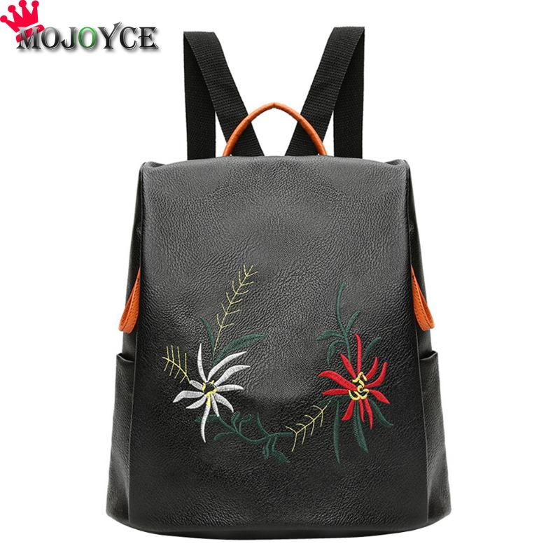 Embroidery Flowers Women Leather Backpacks Female School bags for Girls Rucksack Small Floral Embroidery Flowers Bagpack Mochila a three dimensional embroidery of flowers trees and fruits chinese embroidery handmade art design book