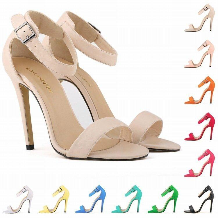 9d19b55e3da Free shipping Black Women Pumps Sexy Girls matte finish High Heels Shoes  Open Toe Ankle Strap Thin Heel Sandals US 4-11 102-3MA