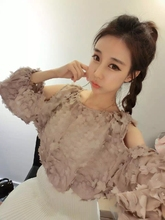 Summer Cute Women Shirts Ruffles Floral O-Neck Lace Hollow Out Cover A Short Paragraph Dew Shoulder Garments Blouse Shirt 132