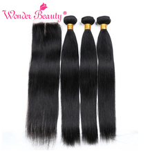 hot deal buy wonder beauty hair remy human hair brazilian straight weaves 3 bundles deal with free gift lace closure middle/free/three part