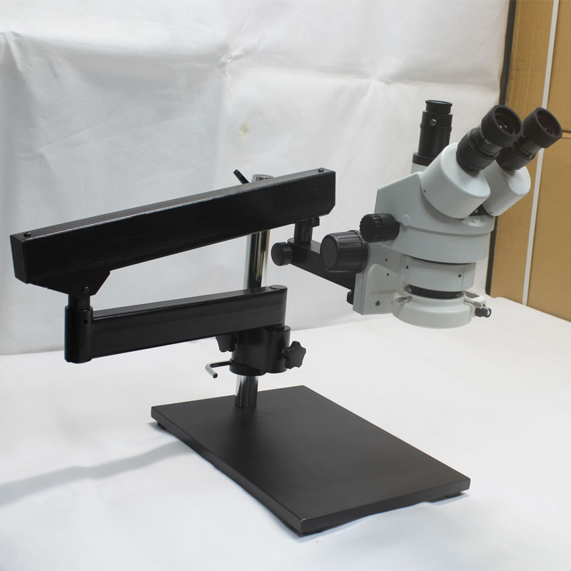 3.5X-90X Trinocular Articulating Arm Pillar Clamp Big Base Zoom Stereo Microscope With 16MP HDMI USB Camera 144 LED Light Source