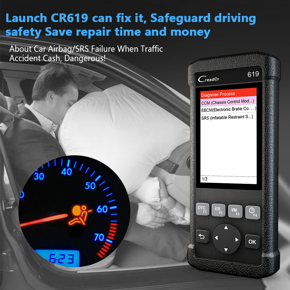 HTB1mwQZXEuF3KVjSZK9q6zVtXXap Launch CR619 OBD2 Scanner Engine ABS SRS ODB2 Scan Tool Multi-language Launch OBDII Code Reader Car Diagnostic Tool Free Update