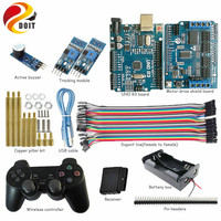 DOIT UNO Starter Kit for Arduino Project with PS2 Controller, UNO Board, Motor Drive Shield Board, Tracking Module for DIY
