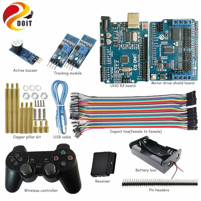 DOIT UNO Kit de démarrage pour projet Arduino avec contrôleur PS2, carte UNO, panneau de blindage d'entraînement moteur, Module de suivi pour le bricolage
