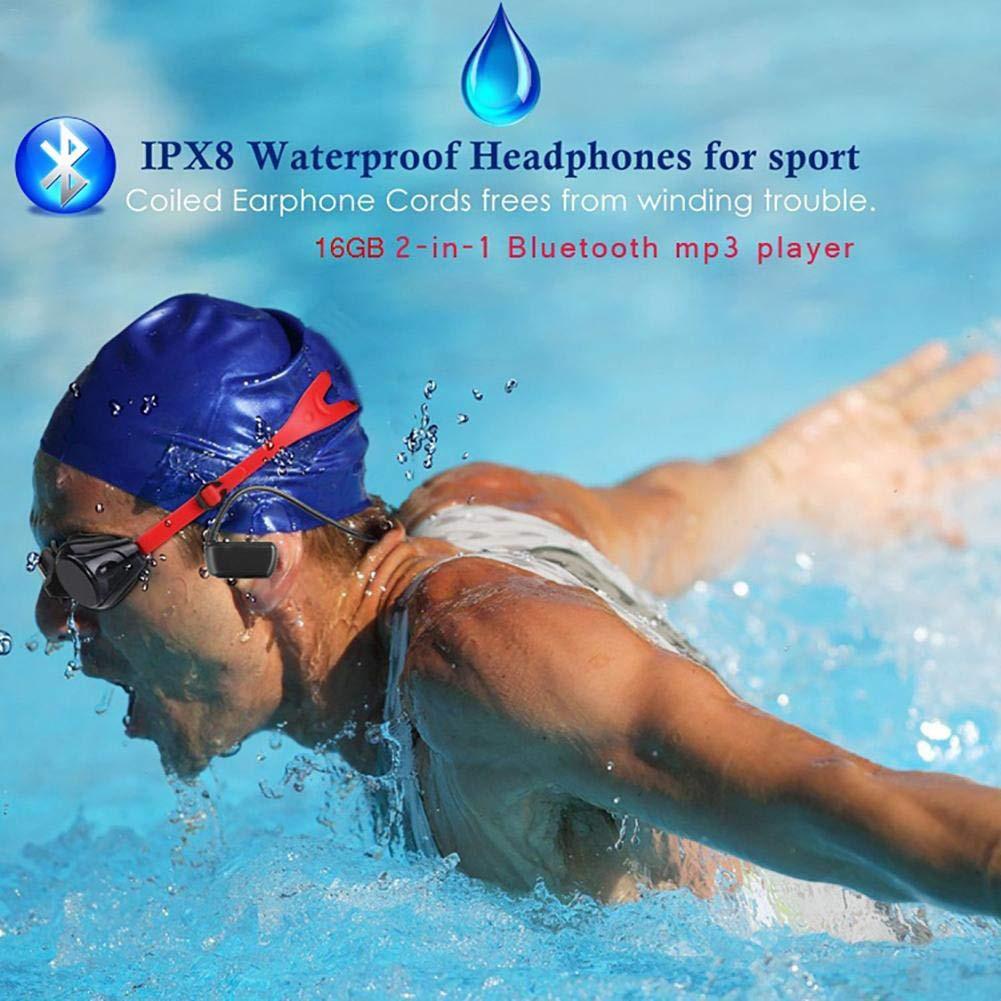 IPX8 casque étanche sans fil enregistreur de téléphone professionnel grande capacité lecteur MP3 sport casque Bluetooth