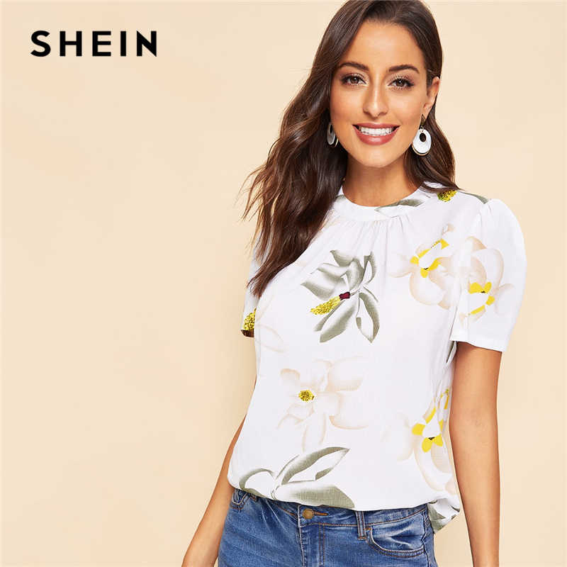 SHEIN White Keyhole Back Pleated Floral Short Puff Sleeve Summer Blouse Women 2019 Round Neck Workwear Casual Top Blouses