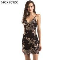 MOXFCIZO Phụ Nữ Vàng Đen Sequin Dress Sexy V-Cổ Backless Phụ Nữ Dresses Sundress Sang Trọng Đảng Mang Club Mini Sequined Ăn Mặc XL
