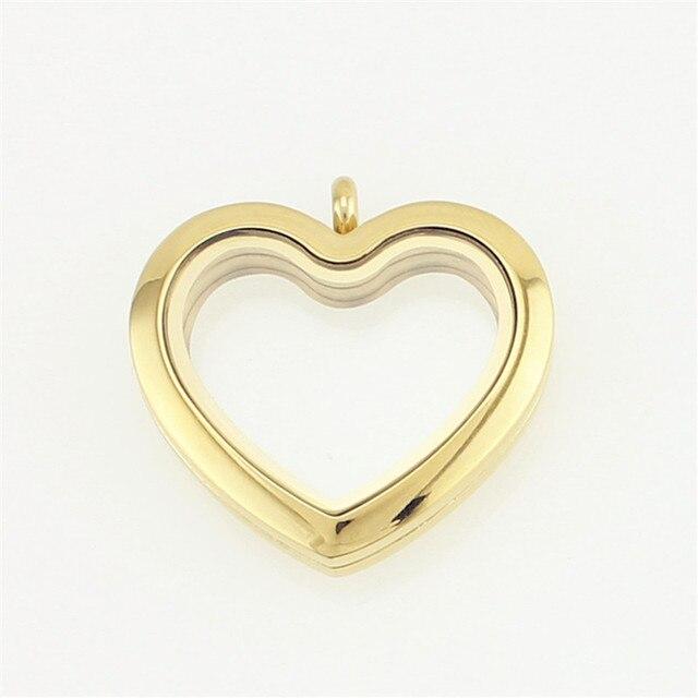 30 stainless steel heart floating locket girl silver gold rose