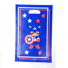 6pcs Christmas Smile party theme PE printed plastic candy bags,shopping gift bag for Kids happy birthday event supplies
