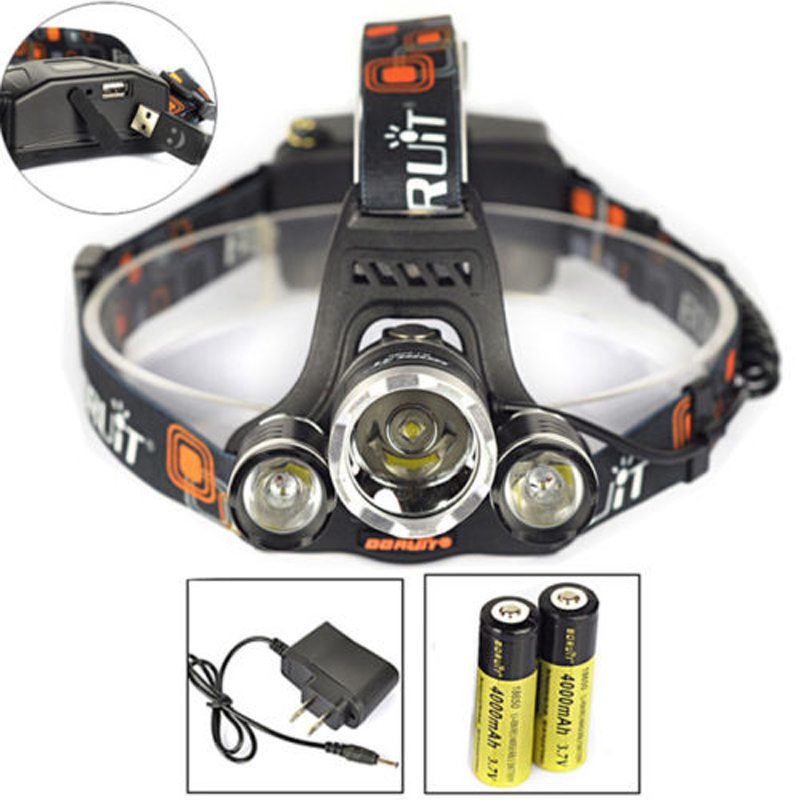 BORUIT 8000LM 3x XM-L2 LED Headlight Headlamp Head Torch USB Lamp+18650+Charger Camping Portable Light Cycling Bicycle Bike Lamp the new headlamp headlight glare cree xhp50 bicycle light headlight 18650 head lamp lampe bike light